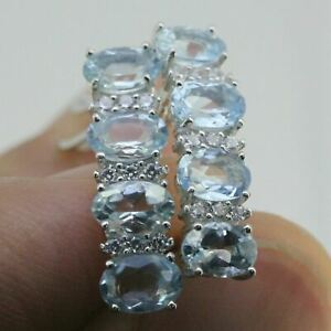 Sterling Silver 3 Ct Deep Blue Genuine Natural Aquamarine Earrings French Clip