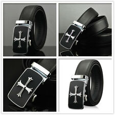 Mens Black Dress Fashion Leather Belt Ratchet Automatic Buckle Stainless Steel 1