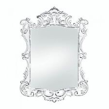 Regal White Distressed Wall Mirror Vintage Style Rectangular Shape Accent New