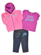 Coogi Girls Pink Hoodie Jacket 3pc Denim Jeans Pant, Shirt Set Size 2T
