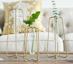 Metal Stand Glass Tube Bottle For Plant Desktop Vase Home Decoration Accessories