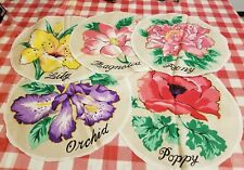 """Craft Fabric Panel Applique Flowers Pre Cut Peony Orchid Magnolia Lily Poppy 11"""""""
