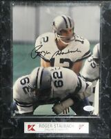 Roger Staubach Hand Signed Autographed 8x10 Photo on Plaque Dallas Cowboys JSA