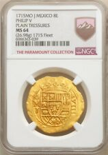 1715 Dated Philip V gold Cob 8 Escudos 1715 Mo-J MS64 NGC 1715 Fleet Shipwreck