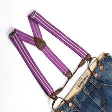 Men Women Unisex Suspenders Adjustable Braces Button Holes Purple Stripes BD715