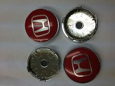 Set of 4 HONDA Face 60mm Clip 56mm ALLOY WHEELS CENTER CAPS SET [ Red ],