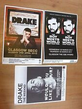 Drake - Scottish tour Glasgow concert gig posters x 3