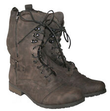 LADIES KHAKI LACE UP MILITARY STYLE BOOT WITH INSIDE ZIP IN SIZE UK 6 / EU 39