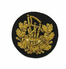 Badge Pipe Major Gold on Black  Small 6 cms Wide R1647