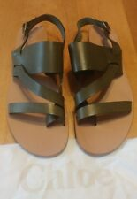 CHLOE Olive Green Flat Leather Strappy Sandals NEW Size 41