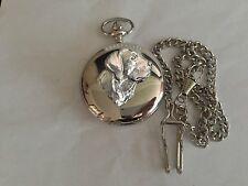 A4 Labrador's Head    polished silver case mens GIFT quartz pocket watch fob