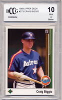 1989 Upper Deck Craig Biggio Rookie Card Graded BCCG 10