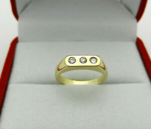 Solid 14K Yellow Gold Children Kid Baby 3-Stone Ring Size 3
