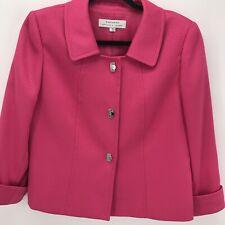 Tahari Blazer Jacket Size 8 Pink Textured Silver Snap 3/4 Sleeve Career Work