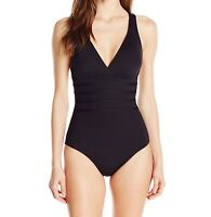 La Blanca Womens Swimwear Black Size 6 Crossback One-Piece Swimsuit $119- 488
