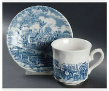 Vintage Coffee Tea Cups & Saucers Churchill Royal Mail Blue Wessex Coach England