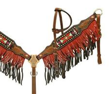 Showman Two toned fringe headstall and breast collar set navajo beaded inlay!