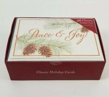 "36 Classic Holiday Cards & Envelops 5""x7"" New (Peace & Joy) Pine Cones"