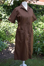 Vintage Brown Fitted Women's Overall Coverall Workwear Uniform - 1980s