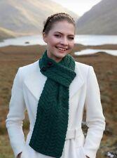Connemara Green buttoned Loop Scarf Irish Merino Wool a196 403