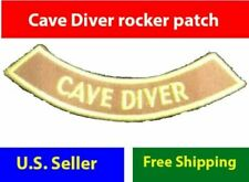"CAVE DIVER 4"" rocker Iron-on adventure Certificate Embroidered Patch Scuba brown"