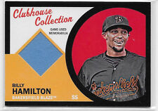 2012 TOPPS HERITAGE MINOR BILLY HAMILTON CLUBHOUSE COLLECTION RC RELIC BLACK /50