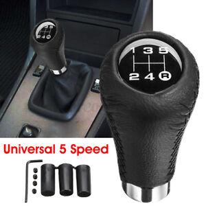 Manual Stitche Leather Universal Car Gear Stick Shift Knob Shifter Black 5 Speed