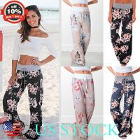 Women Floral Print Loose High Waist Wide Leg Long Pants Yoga Drawstring Trouser