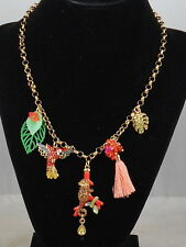 Betsey Johnson Goldtone TROPICAL PUNCH Monkey Parrot Leaf Charm Necklace $52