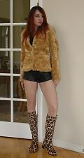 Vtg Rock Moto Punk Black Leather High waist Shorts