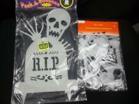 Halloween Glow In The Dark Plastic 3 Ft. Skeleton and Tombstone Yard Decor