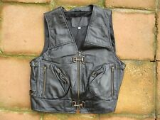 MENS GENUINE LEATHER SIZE XL CHEST BLACK LEATHER MOTORCYCLE WAIST COAT