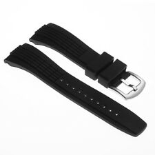StrapsCo 26mm Black Silicone Rubber Watch Band Strap for Seiko Velatura