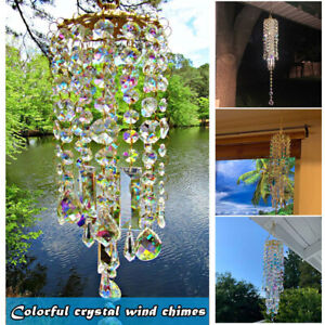 Colorful Crystal Wind Chime Sun Catcher Hanging Rainbow Prism Feng Shui Decor