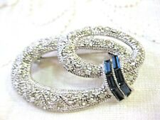 Beautiful Silver Tone art deco Brooch w clear & blue rhinestones