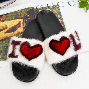 100% Real Mink Fur Slides Women's Sliders Summer Sandals Sandels Slippers Shoes