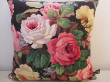 Sanderson Chelsea Rose Traditional Floral Cotton & Black Velvet Cushion Cover