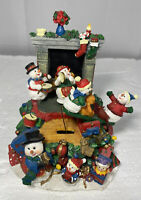 Vtg Animated   snowman  musical box plays we wish you a merry Christmas