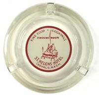 Fireside Room Cocktails St. Helens Hotel Chehalis WA Vintage AshTray Glass Round