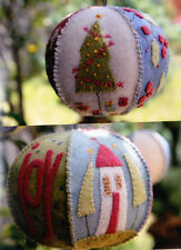 Joyful Xmas Bauble KIT - wool applique PATTERN, fabric & floss