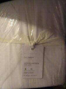 POTTERY BARN White Washed Cotton Sateen Duvet Cover~Full/Queen~NIP
