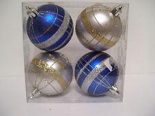 4 SILVER BLUE & GOLD GLITTER SHATTER RESISTEN CHRISTMAS ORNAMENTS DECORATION