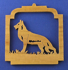 German Shepherd Christmas Ornament - Hand Cut From Walnut