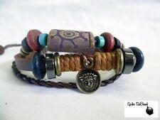 Punk/Surfeur & Tribal Marron Corde & Cuir Réglable Bracelet (Neuf)