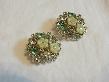 "Ab Rhinestones 1 1/8"" Signed Bsk Stunning Clip Earrings Gold Tone Yellow Lime"