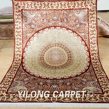 Yilong 5'x7' Red Silk Rugs Hand Knotted Fancy Round Style Carpets Handmade 1048