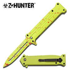 Z-HUNTER Neon Green Handle with Red Splatter Zombie Folding Pocket Knife