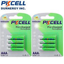 8pcs AAA NiMh Rechargeable Battery 1.2V 600mAh For Solar Light Toys PKCELL