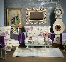 Dollhouse living room set, sofa and two armchairs - 1:12 scale  Purple Rose