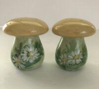 Vintage '84Handmade & Painted Mushroom Salt & Pepper Shakers Floral Daisy Signed